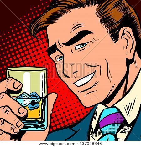 Toast cheers whisky with ice, elegant man pop art retro vector. a realistic drawing. Caucasian man a gentleman. Date, alcoholic beverage