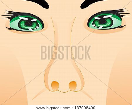 Part of person of the person with eye and nose