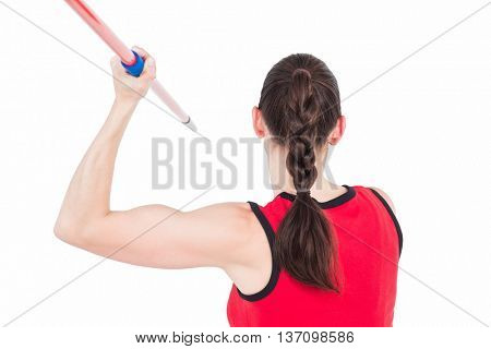 Female athlete throwing a javelin on white background