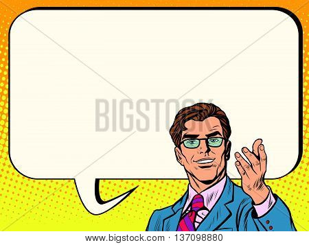 Business man poster comic bubble pop art retro vector. Advertising announcement
