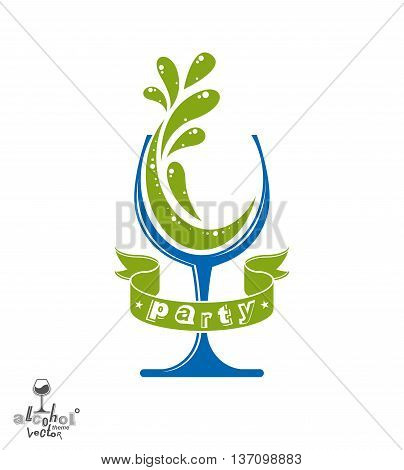 Stylized classic vector goblet with splash and green creative ribbon party and celebration theme decorative illustration.