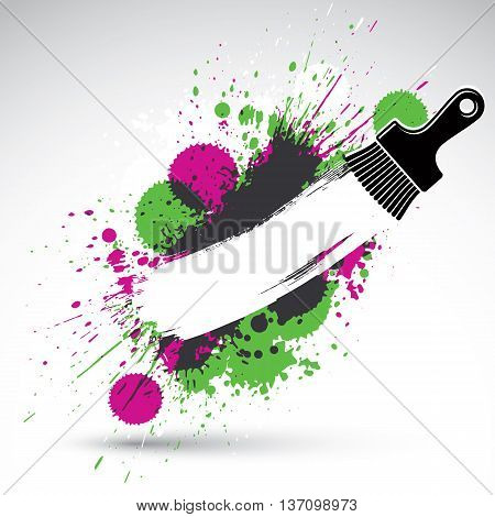 Hand-painted decorative grunge background made with smudge brushstrokes. Art renovation theme colorful drawing