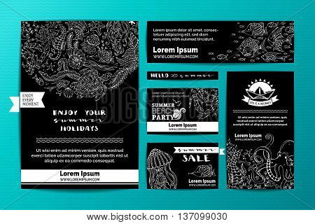Wild animals and plants on blackboard background. A4 paper business cards banners. Octopus turtle fish starfish crab shell jellyfish seahorse algae.