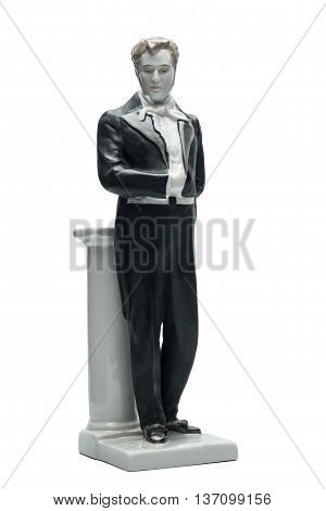 Gentleman. Old figurine man in tailcoat. Front view isolated on the white background.