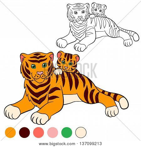 Coloring Page. Color Me: Tiger. Mother Tiger With Her Little Cute Baby Tiger.