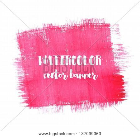 Hand painted watercolor banner. Red and pink paint strokes, square shape. Vector paint texture