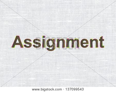 Law concept: CMYK Assignment on linen fabric texture background