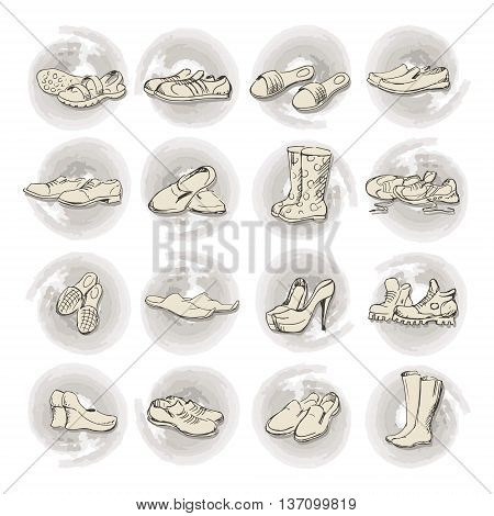 Hand drawing various types of different footwear. Shoes icons sketch male and female shoes sandals boots moccasins rubber boots and else. Vector illustration shoes sketch background.