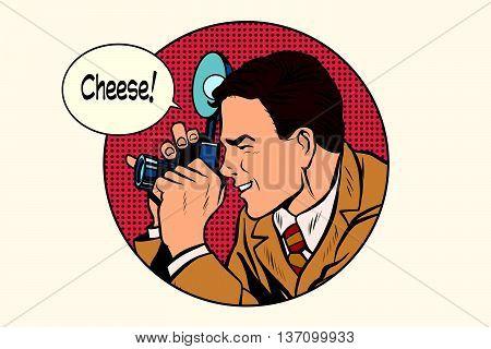 Pop art photographer cheese pop art retro vector. Profession photo. Smile