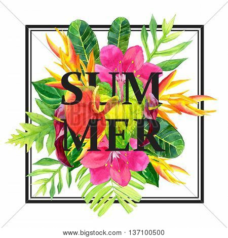 Illustration With Realistic Watercolor Flowers. Summer.