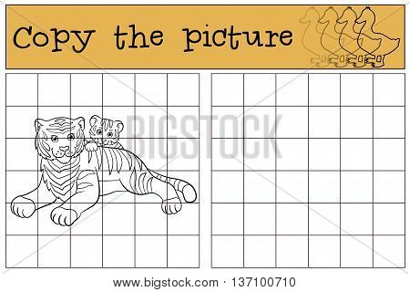 Children Games: Copy The Picture. Mother Tiger Lays With Her Little Cute Baby Tiger.