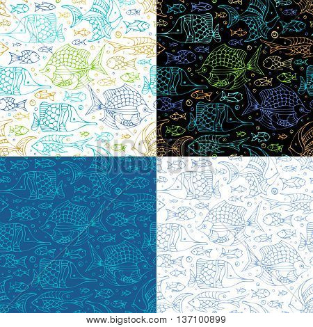 Vector Set Of Seamless Sea Fish Patterns.