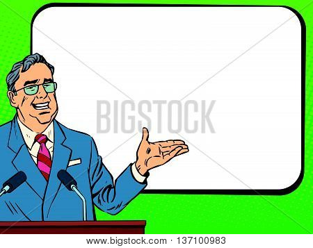 Boss business man speaking at podium, lecture or presentation pop art retro vector. Education and science