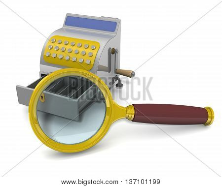 Magnifying glass and an empty cash register. A magnifying glass focuses on an empty cash register. The concept of low sales. Financial concept. 3D Illustration
