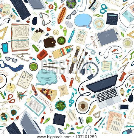 Seamless Pattern Of Gadgets And Office Supplies.