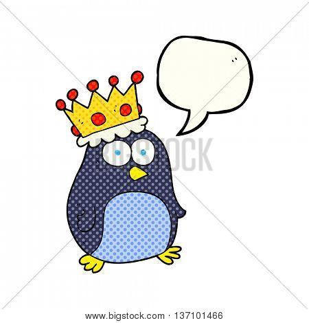 freehand drawn comic book speech bubble cartoon emperor penguin
