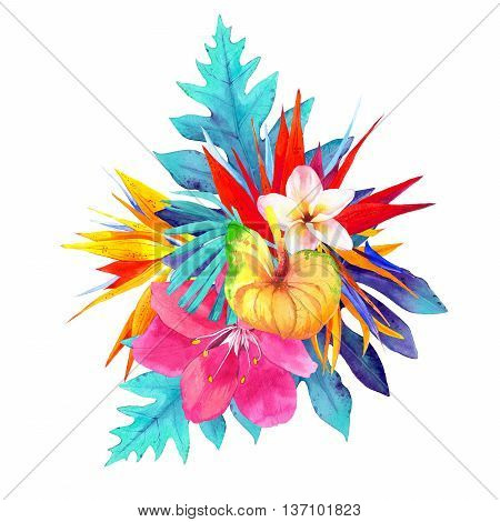 Illustration With Realistic Watercolor Flowers. Fluorescent Colors.