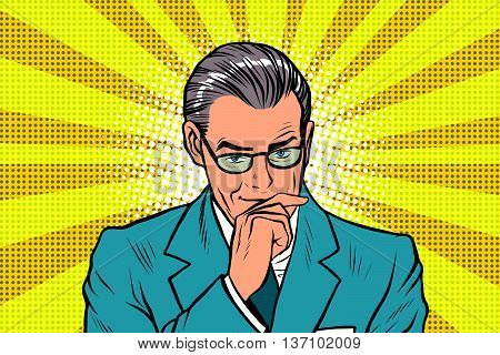 The thinker thinking man pose a sun rays background pop art retro vector