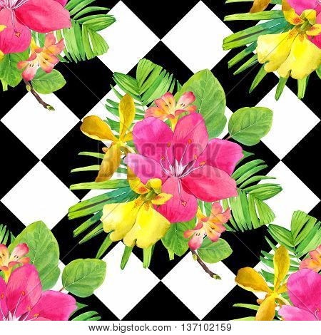 Beautiful bouquet with tropical plants on black and white chess background. Composition with lily palm leaves and orchid.
