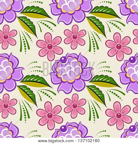 Seamless russian floral pattern. Russian handicraft. Gorodets painting. Vector illustration
