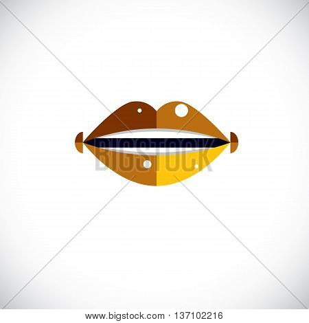 Human Lips Vector Illustration, Parts Of Woman Face. Graphic Element Made In Modernistic Style.