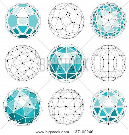 3D Vector Digital Wireframe Spherical Objects Made Using Different Geometric Facets. Polygonal Orbs