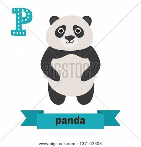 Panda. P Letter. Cute Children Animal Alphabet In Vector. Funny Cartoon Animals