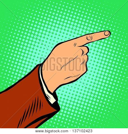The hand points sideways and up pop art retro vector