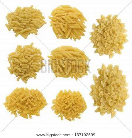 heap raw pasta different shape isolated set closeup