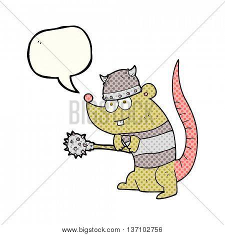 freehand drawn comic book speech bubble cartoon rat warrior