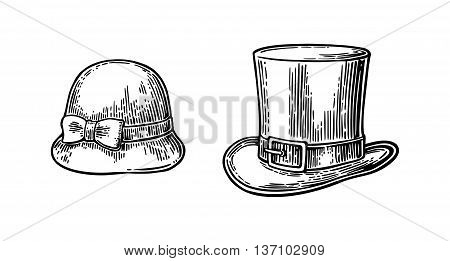 Ladies and gentlemen hat. Vector vintage engraved illustration. Isolated on a white background.