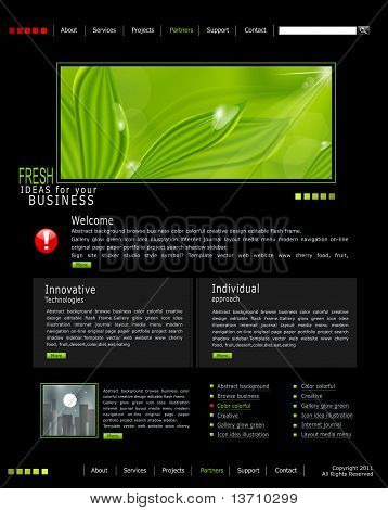 Vector Web Site Is Black With Green Leaves And Drops Of Dew, For Business