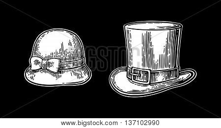 Ladies and gentlemen hat. Vector vintage engraved illustration. Isolated on a black background.
