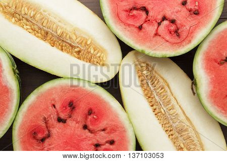 watermelon and melon on the wooden table