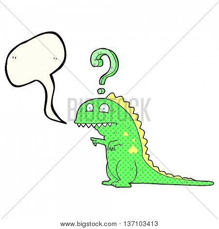 freehand drawn comic book speech bubble cartoon confused dinosaur