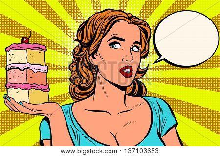 Pop art girl diet cake retro vector. Sweet food, pastries