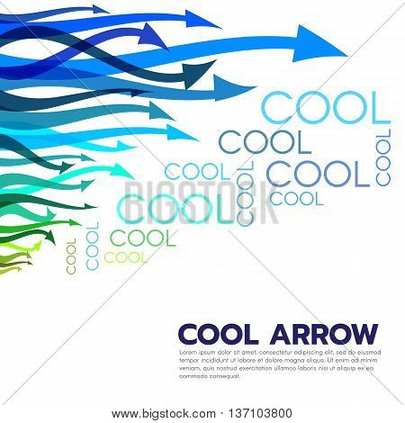Cool colored tone arrow and cool text abstract vector art style