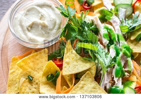 Nachos With Chicken And Vegetables