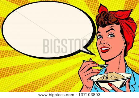 Woman with bowl of delicious cereal pop art retro vector. Mom cooks in the morning