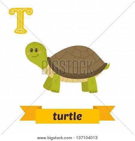 Turtle. T Letter. Cute Children Animal Alphabet In Vector. Funny Cartoon Animals