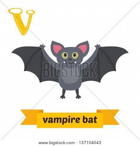 Vampire Bat. V Letter. Cute Children Animal Alphabet In Vector. Funny Cartoon Animals