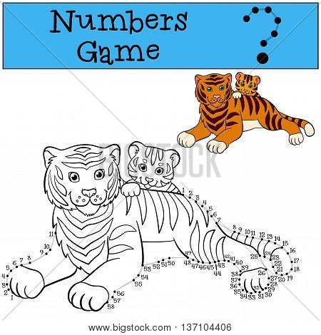 Educational Games For Kids: Numbers Game With Contour. Mother Tiger With Her Little Cute Baby Tiger.