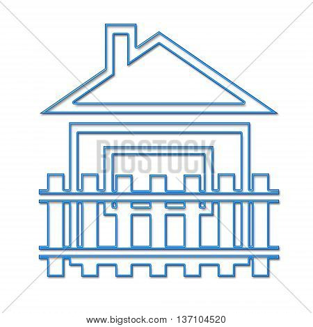 The symbol of a private house on a white background