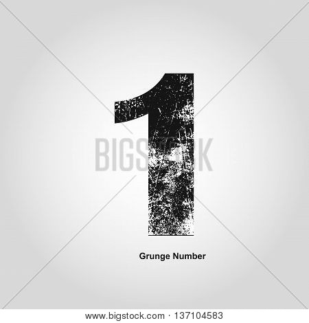 Grunge number One. Distress damaged object. Vector illustration. Math objects