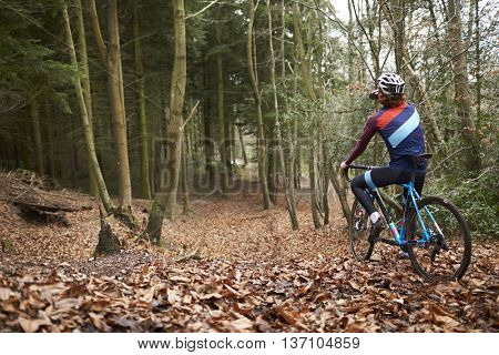 Cross-country cyclist drinking as he cycles in a forest