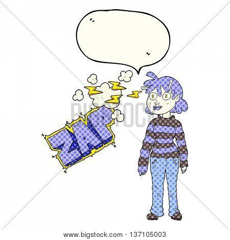 freehand drawn comic book speech bubble cartoon casual alien girl using telepathy