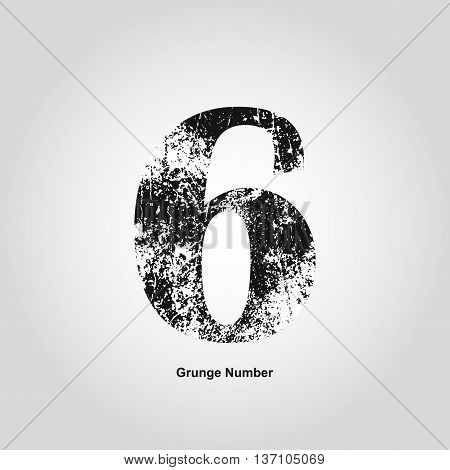Grunge number Six. Distress damaged object. Vector illustration. Math objects
