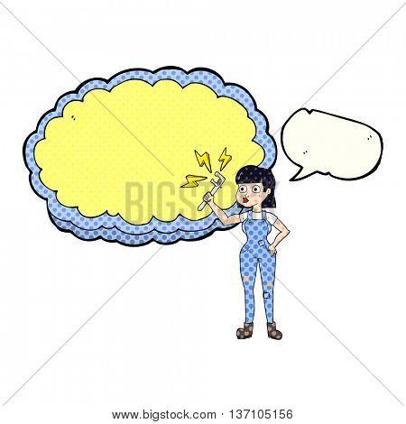 freehand drawn comic book speech bubble cartoon female plumber