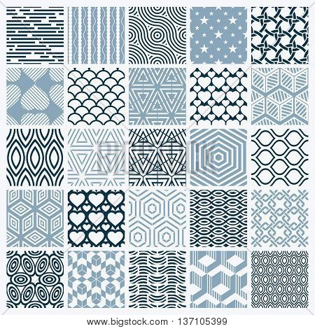 Vector ornamental black and white seamless backdrops set geometric patterns collection.
