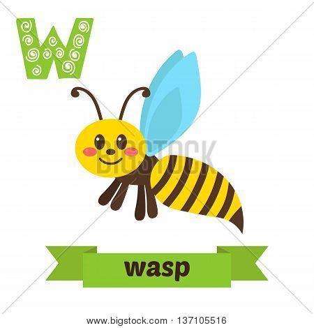 Wasp. W Letter. Cute Children Animal Alphabet In Vector. Funny Cartoon Animals